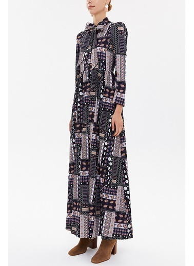 Societa Yakası Bagçıklı Uzun Elbise 92188 Pembe